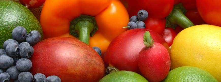bell peppers, black berries, lemons, limes, and other vegetables